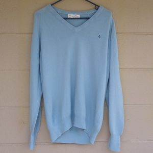 Authentic Christian Dior V-Neck Blue Sweater Large